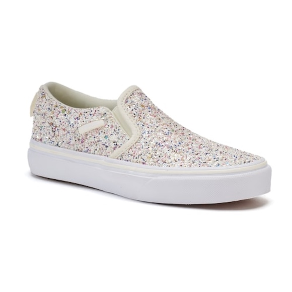 d695ae2066 Vans Girls Glitter Sparkle Slip on Sneakers